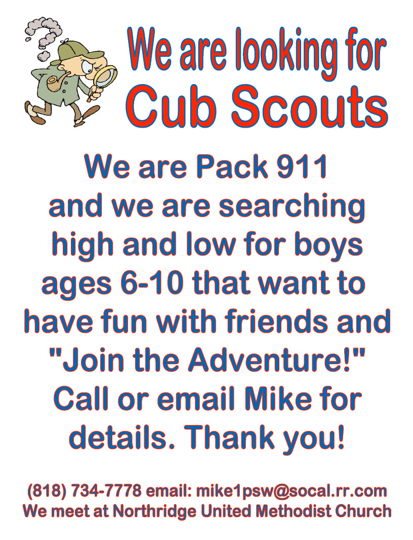 Local Cub Scouts Invitation Northridge West Neighborhood Council NWNC